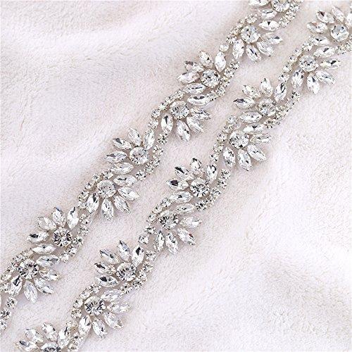 1 Yard Flower Rhinestone Trim,Crystal Wedding Bridal Sash Belt,Iron on Rhinestone Applique for Wedding Party Dresses Gown Formal Dresses (Jewels Dress)