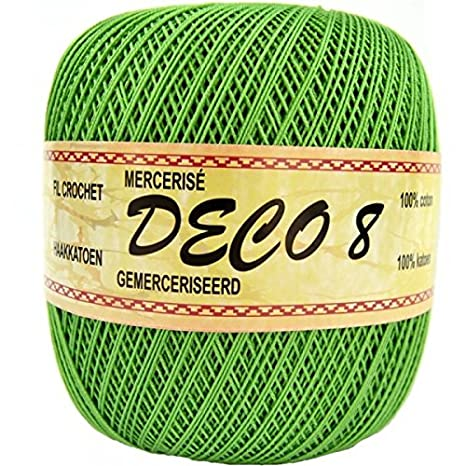 Deco8 - Hilo de algodón para ganchillo, color 001 blanco, 080 Vert ...