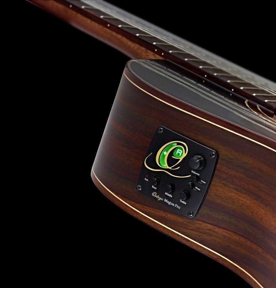 Ortega RCE145LBK Guitare de concert gaucher avec housse Egalisateur//syntoniseur Ligne /étroite Table /épic/éa massif Noir