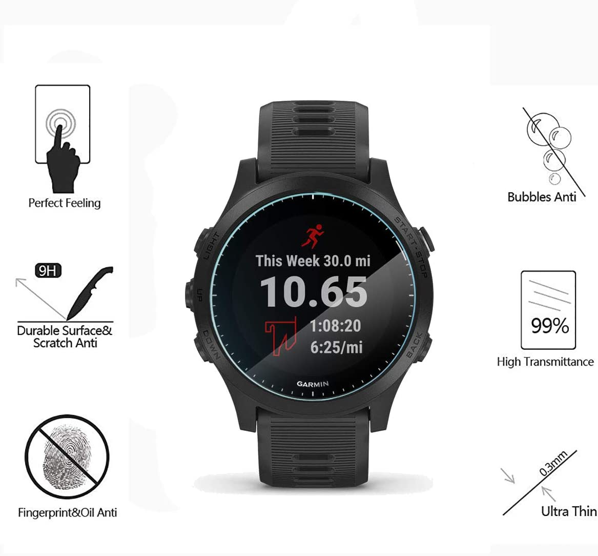 9H Anti-Scratch Glass Protector for Garmin FR 945 Music Smartwatch Screen Protection MWOOT Pack of 4 Tempered Glass Screen Protector Compatible with Garmin Forerunner 945