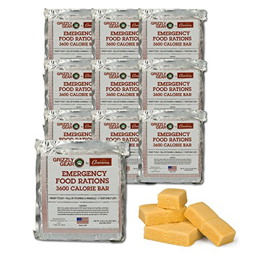 Emergency Food Rations Case of 10 – 3600 Calorie Bars – 30 Day Supply- Less Sugar and More Nutrients Than Other Leading Brands- (5 Year Shelf Life)