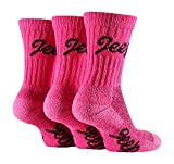 Jeep - 3 Pack Womens Thick Heavy Cushioned Padded Cotton Hiking Boot Crew Socks (Cerise Pink)