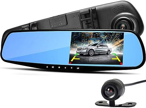 1080P, Delantera y Trasera de 720p, con vigilancia de Aparcamiento, Modo de visi/ón Nocturna, Detector de Movimiento, Sensor de aceleraci/ón y WDR Dash CAM C/ámara Trasera para Coche