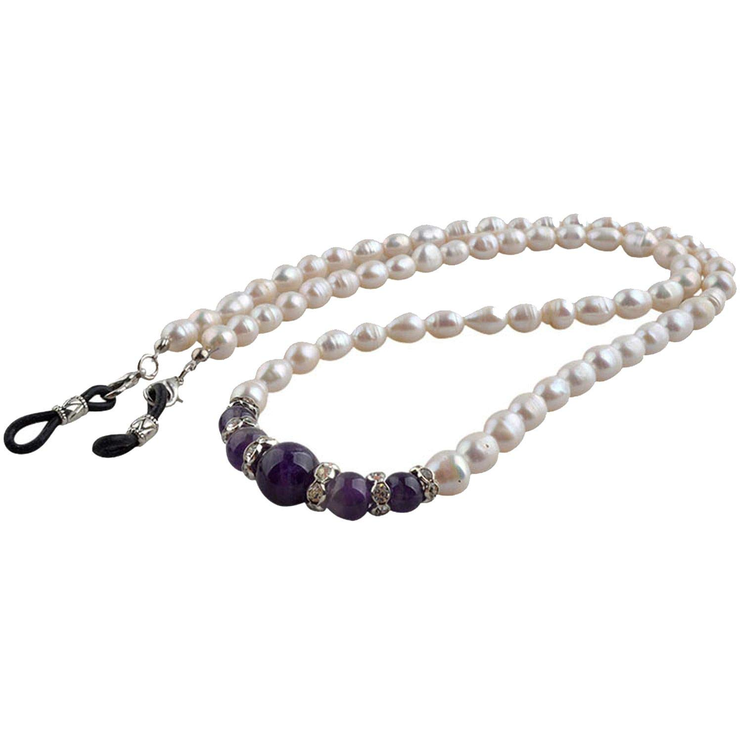 Nature Pearl Sunglasses Eyewear Cord Real Pearl Reading Glass Neck Strap Eyeglass Holder Accessories,Purple by RHYS DOBSON