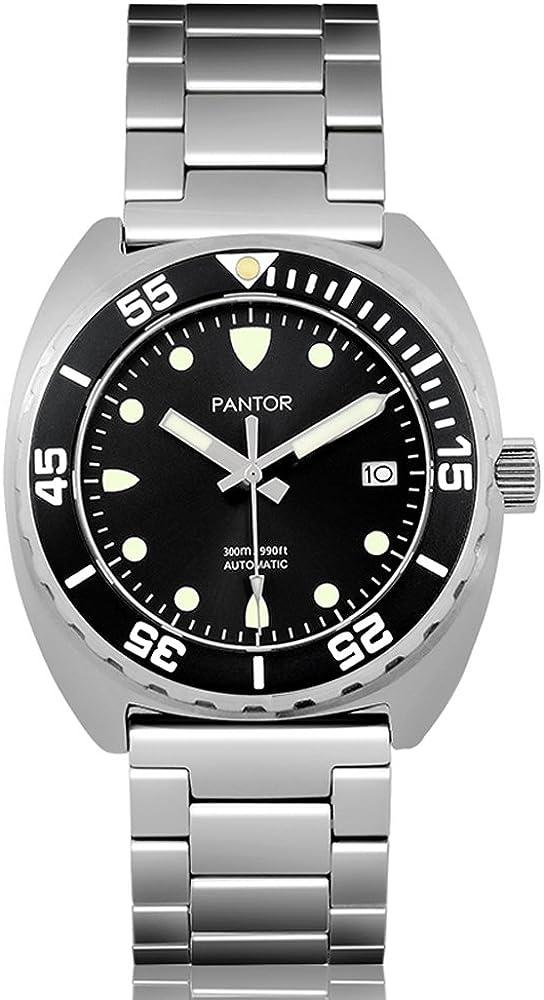 Pantor Sealion 300m Mens Automatic 42mm Pro Dive Watch with Helium Valve Rotating Bezel Sapphire Bracelet Rubber Strap Diving Watch