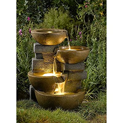 Home Garden Zen Patio 3 Tiered Outdoor Decor Pots Waterfall Fountain with Electric LED Light