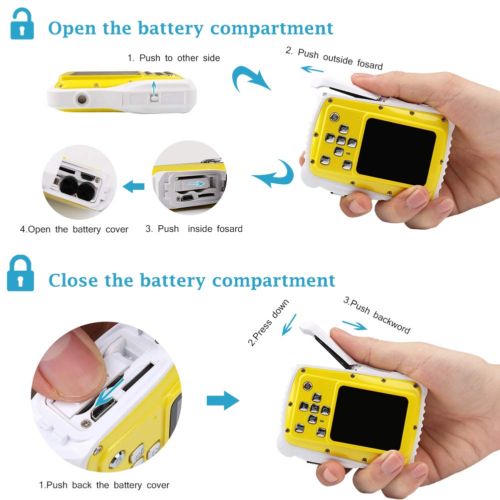 Smyidel Waterproof Mini Kid Camera High Definition 12MP HD 3M Underwater Swimming Digital Camera Camcorder 2.0 Inch LCD Display (Yellow) by Smyidel (Image #3)