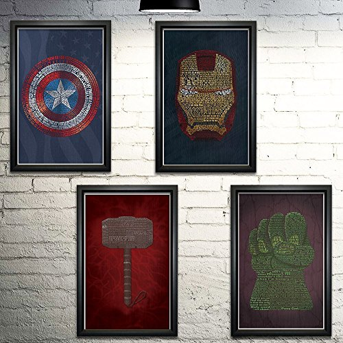 Avengers Word Art Print Four Set - 11x17
