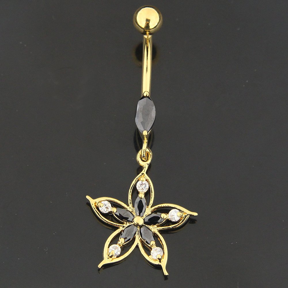 Gold Plated Black CZ Stone Tribal Flower 925 Sterling Silver Belly Button Ring
