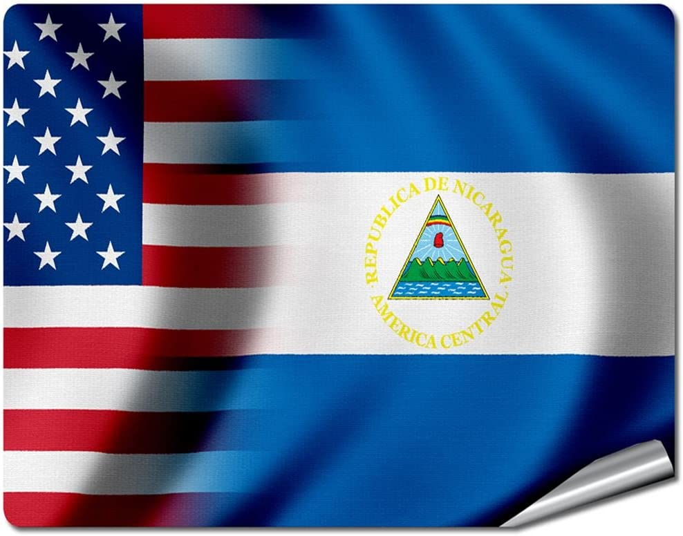 "8"" x 10"" Decal / Sticker/Skin with Flag of Nicaragua - Waves w USA Flag - UV Resistant - Outdoor Quality - Lasts for years"