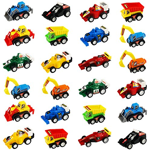 jerryvon Car Toy Mini Pull-Back Vehicles for Egg Fillers Race Car Set with Dumps Trucks Diggers Bullozers Karting Construction Car Birthday Decorations Party Favors for Kid 3 Year Old, 24PCS 24 Kids Plastic Car