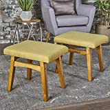 Analise Foot Stool Ottoman | Mid Century Modern, Danish Design | Upholstered in Grey Fabric (Set of 2)