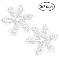 30pcs Snowflake Decoration Plastic White Snowflakes Ornaments for Christmas Tree Carnivals Party Decor