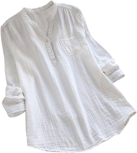 ❤️Camisas Mujer Sexy de Talla Grande,Modaworld Las Mujeres de Manga Larga Casual Loose Tunic Tops Camiseta Blusa Suelta para Mujer Blusas Elegante señoras niña: Amazon.es: Deportes y aire libre