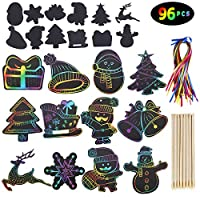 Max Fun Rainbow Color Scratch Ornaments (48 Counts) - Magic Scratch Off Cards Paper Hanging Art Craft Supplies Educational Toys Kit with 48 PCS Drawing Sticks & Cords for Kids Party Favors