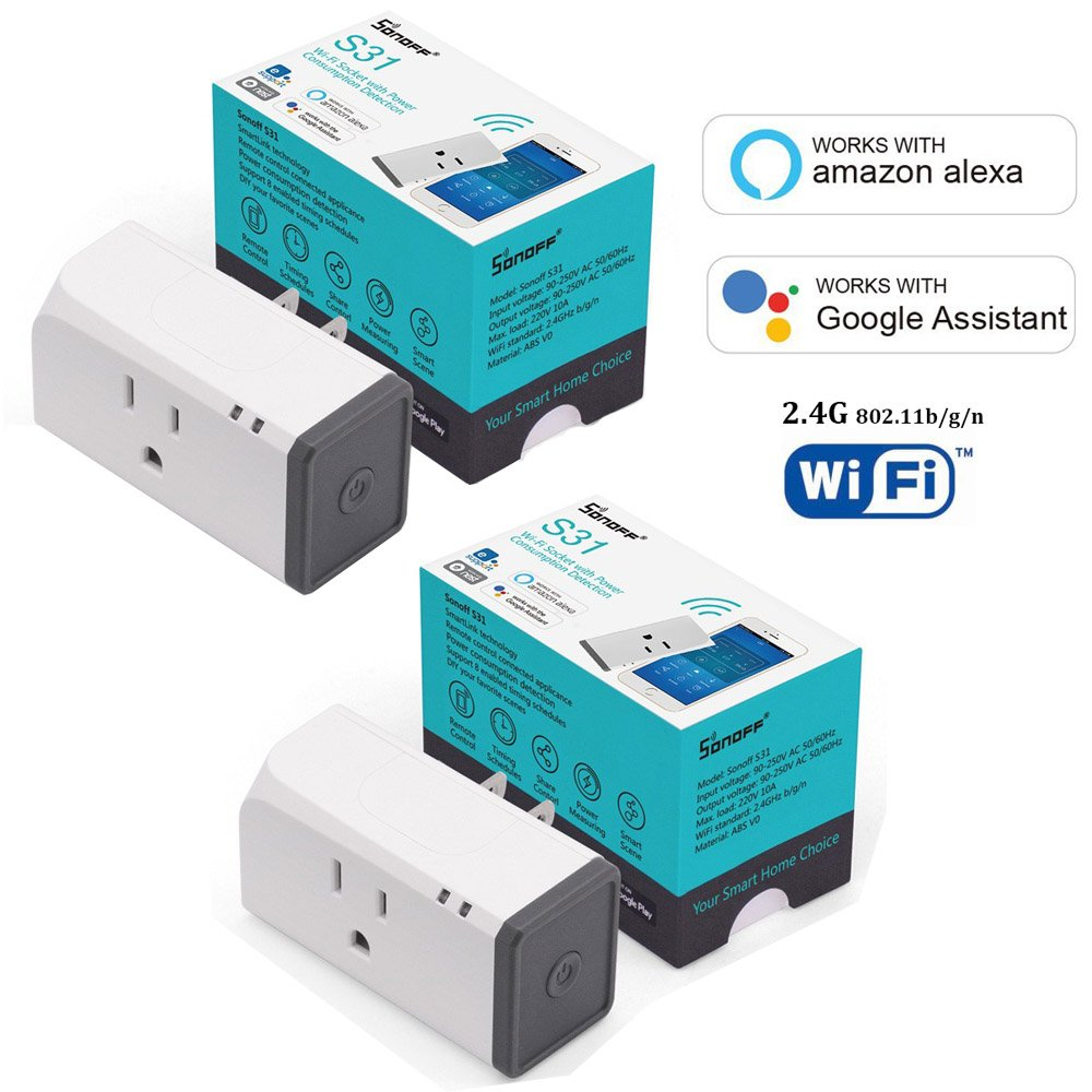 Sonoff S31 S20 Smart Plug Pack 2pcs Wi-Fi Mini Outlet Control your Devices from Anywhere, Works with Amazon Alexa and Google Home Assistant, IFTTT Supported S31