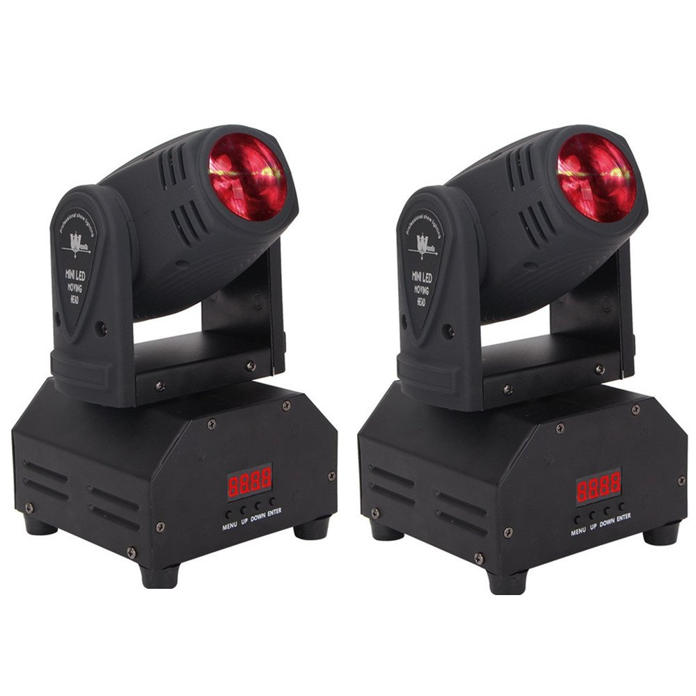 Lumitek 2PCS 10w LED Moving Head Light RGBW Mini Moving Beams Mini Stage Lighting for DJ Party Nightclub Lives 4 Color