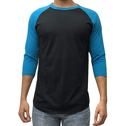 7dac2dcc1f3c KANGORA Men's Plain Raglan Baseball Tee T-Shirt Unisex 3/4 Sleeve Casual  Athletic