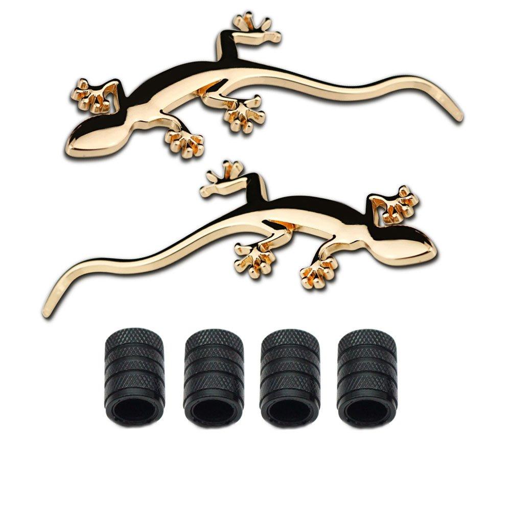 4 Piezas de Estilo moleteado con Tapas de V/álvula de N/úcleo de pl/ástico para Coche Universal Estilo Decoraci/ón Accesorios Dsycar 1 par de Pegatinas 3D de Metal con el Logotipo de Gecko para Coche