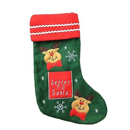 Leisial™ Colgante Calcetines de Navidad de Santa Claus Muñeco de Nieve Adornado Botas de Calcetines