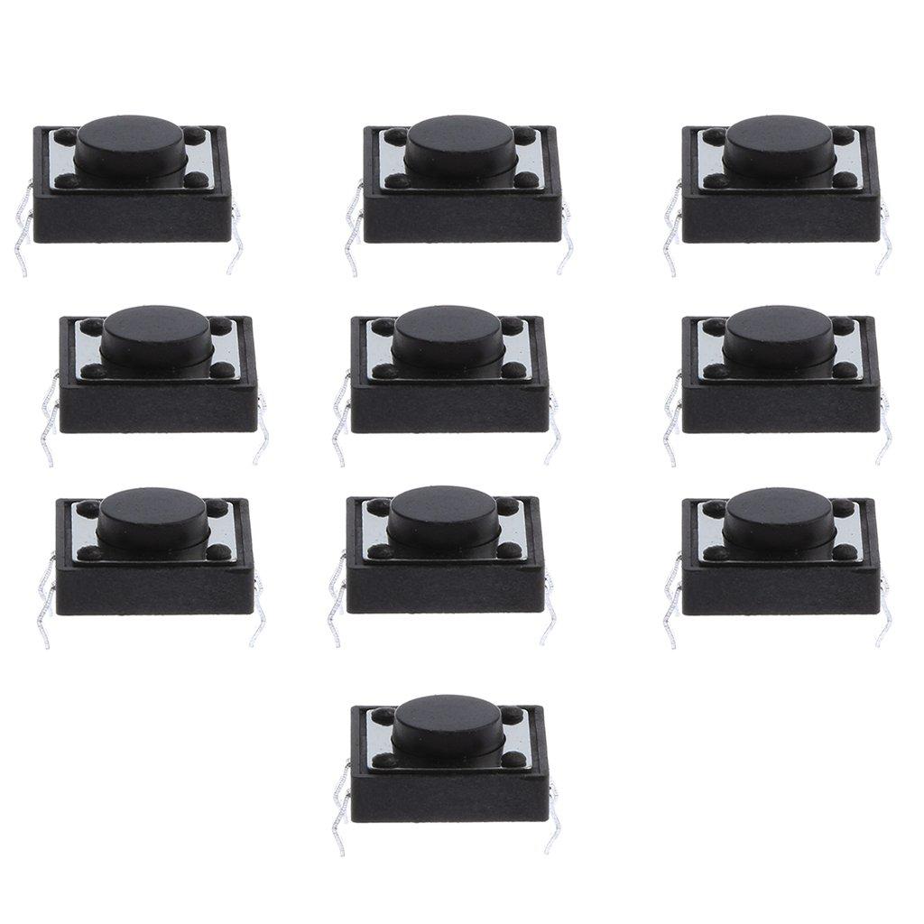 MagiDeal 50 pieces 12x12x6mm PCB Montan Interruptor Moment/áneo T/áctil de Tacto de Bot/ón
