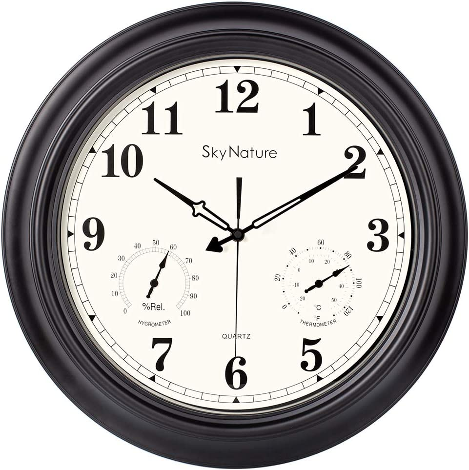 Large Outdoor Clock, 18 Inch Waterproof Clock with Temperature and Humidity Combo, Silent Battery Operated Vintage Clock for Living Room, Patio, Garden, Pool Decor - Metal, Matte Black