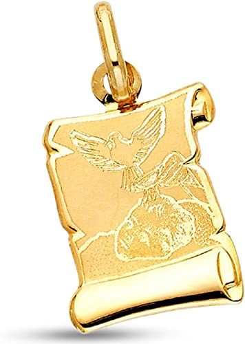 Solid 14k Yellow Gold Dove Holy Spirit Pendant Religious Charm Polished