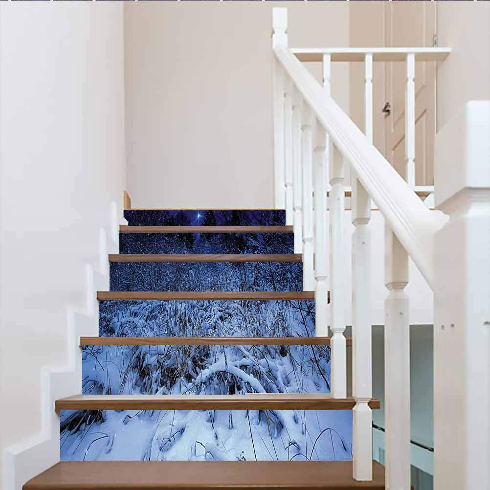Stair Riser Decals Self-Adhesive Stair Murals, Christmas Snowy Forest at Night with Xmas Star Holiday Bliz, for Walls Kitchen Stair Decals Home Decorations, W39.3 x H7.08 Inch x6PCS