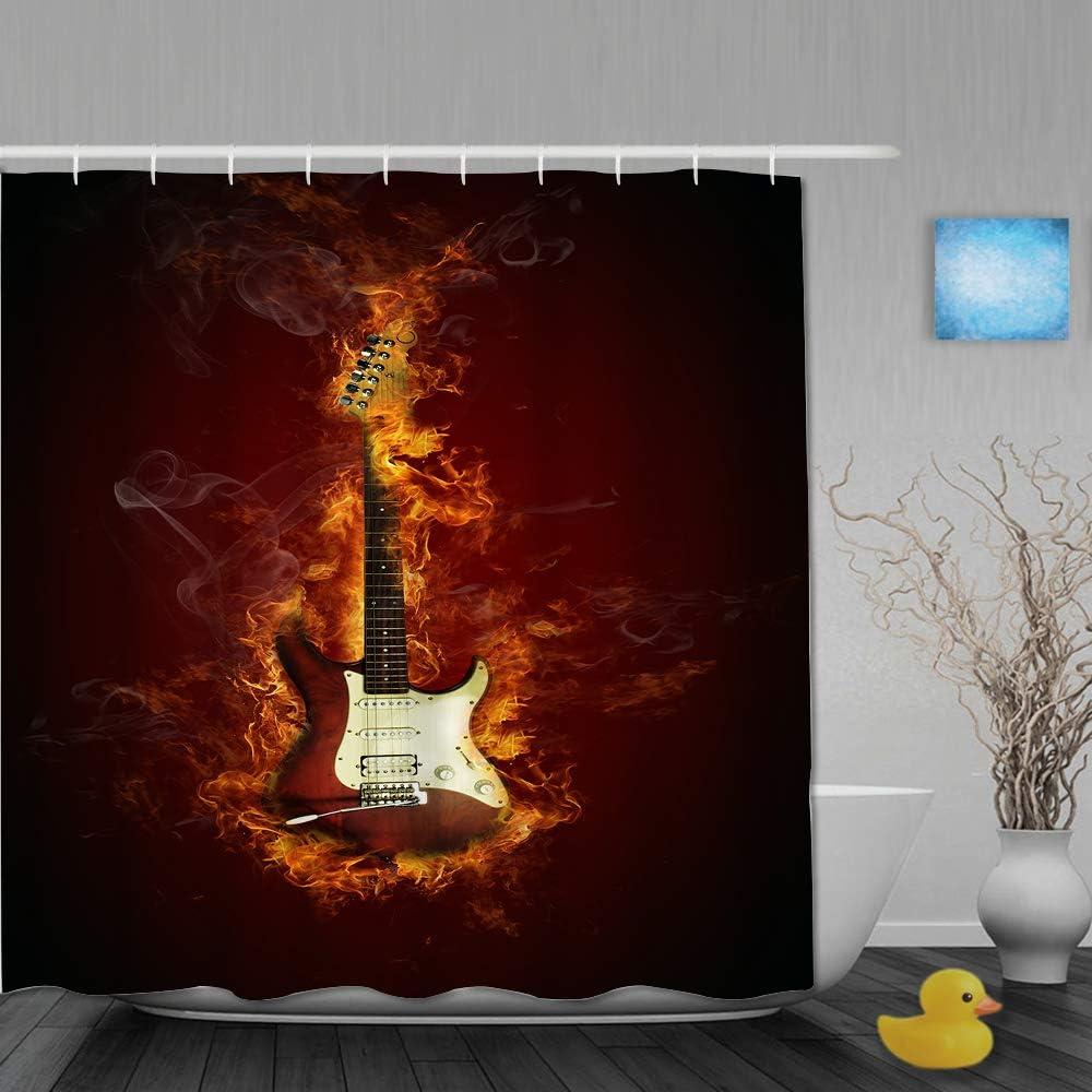 Marutuki Cortina de Ducha,Guitarra eléctrica de Fuego,Tejido de poliéster - con Gancho,180x180