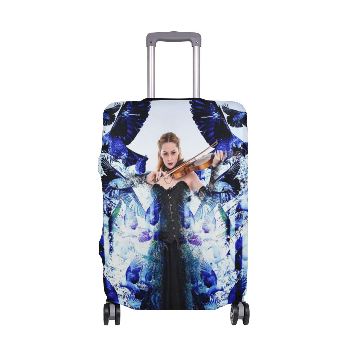 Girl Magic Play Violin Blue Birds Creative Picture suitcase cover elastic suitcase cover zipper luggage case removable cleaning suitable for 29-32 trunk cover