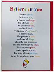 Believe in You - Cute Motivational and Encouragement Luxury Greetings Cards by Clarabelle Cards 5 x 7 inches