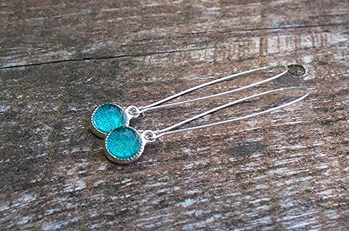 - Recycled Vintage Mason Jar Long Drop Charm Earrings