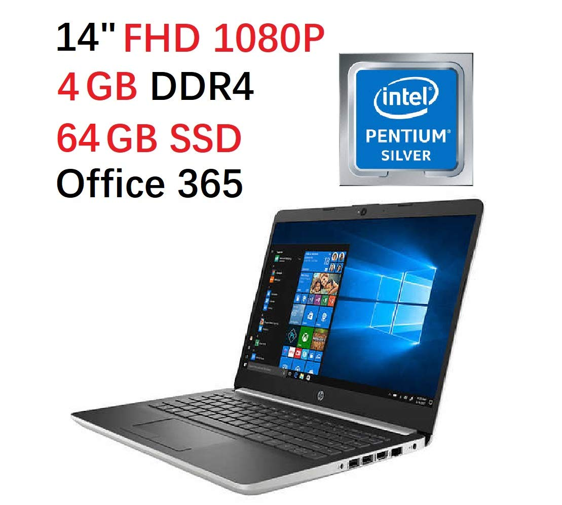 Flagship 2019 HP 14 FHD Laptop Intel Quad-Core Pentium Silver N5000 Up to 2.7Ghz 4GB DDR4 64GB eMMC SSD Office 365 Personal-1yr Win 10 S Support up to 256G Micro SD Extra Storage