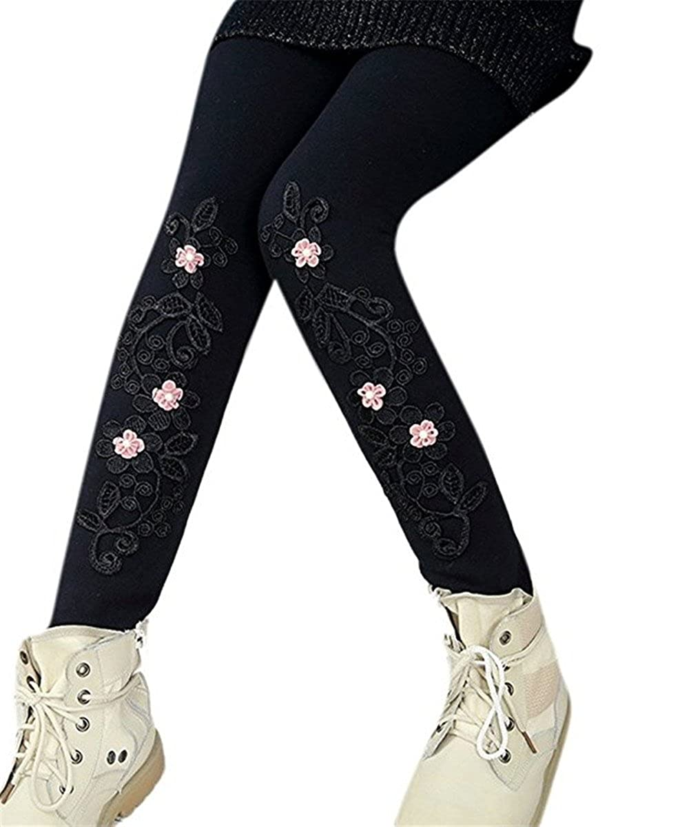 JELEUON Little Girls Kids Winter Flower Embroidery Warm Fleece Velvet Lined Stretchy Leggings Pants Tights