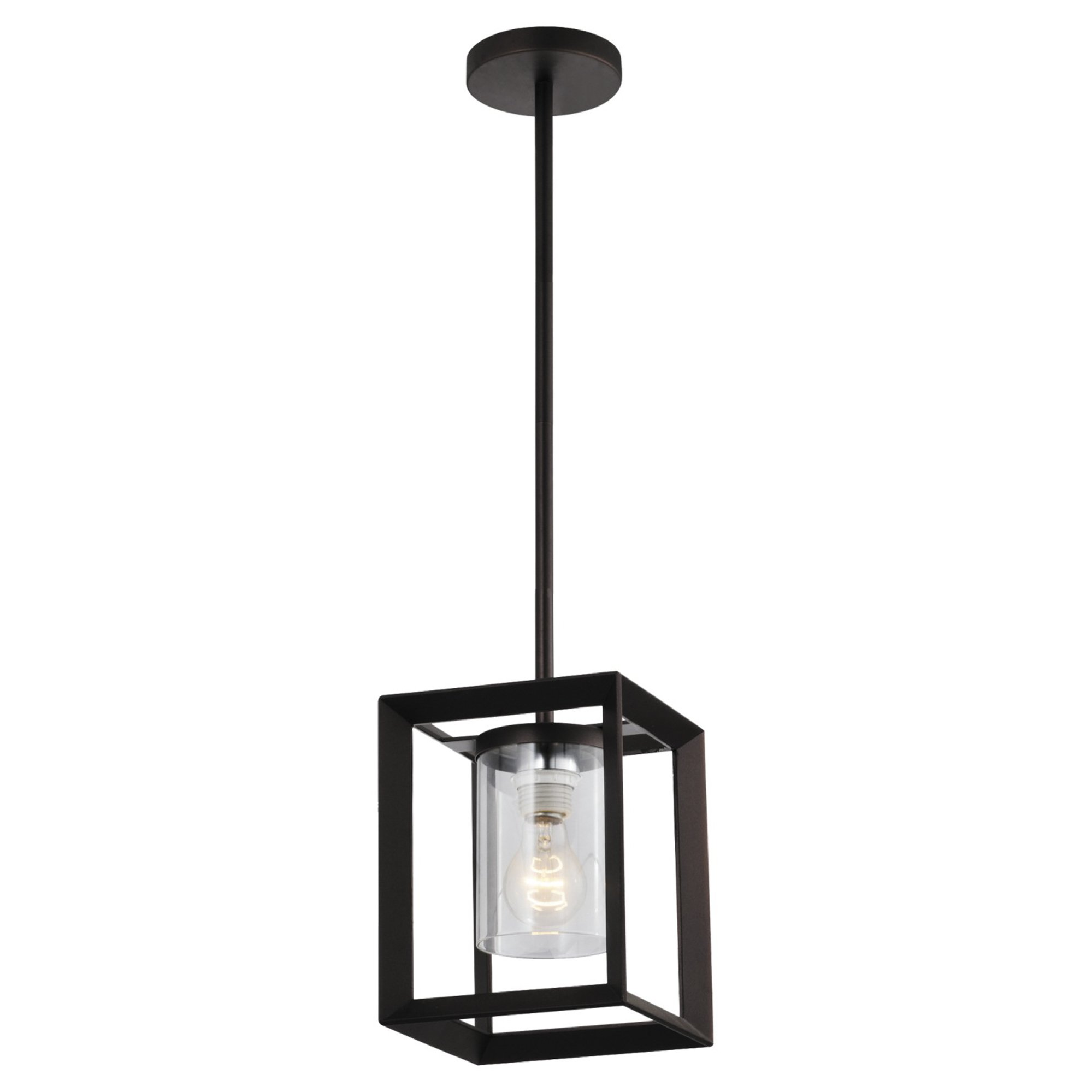 Emliviar Modern Glass Pendant Light, Single Light Metal Wire Cage Hanging Pendant Light, Oil Rubbed Bronze with Clear Glass Shade and 42'' Black Rod, 2083M1L ORB