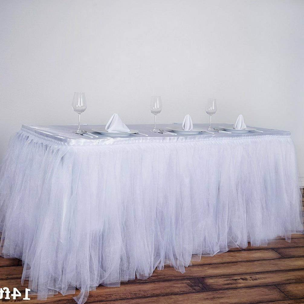 Mikash 14 feet x 29 Two Layers Tulle Table Skirt Party Wedding Booth Decorations | Model WDDNGDCRTN - 19117 |