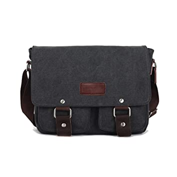 5068118a68331 Mens Retro Canvas Leather Messenger Bag Travel Shoulder Bags Crossbody  Sports Vintage Pack Retro Side Bag Handbag Hiking Camping Bag (Black):  Amazon.co.uk: ...