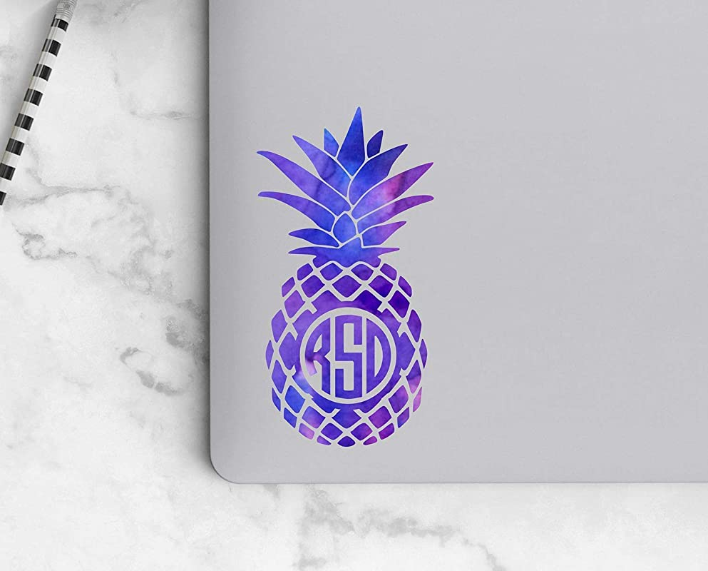 Your Choice of Size and Color Laptop Decal Pineapple Monogram Car Decal Tropical Sticker for Tumbler