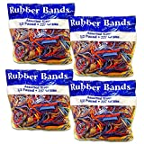 Alliance Rubber Bands Assorted Dimensions 227G/Approx. 400 Rubber Bands, Multi Color, 1/2 lb - 4 Pack