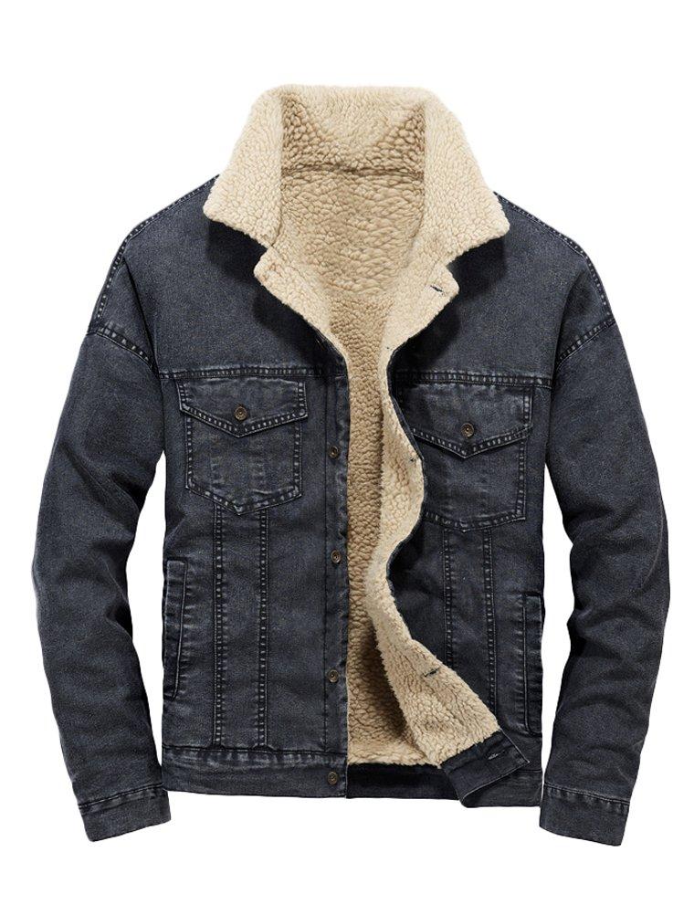 Lavnis Men's Casual Denim Jacket Winter Slim Fit Button Down Jeans Coat Black M by Lavnis