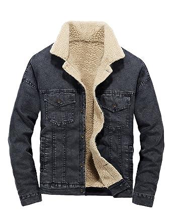 81a1900f789b Lavnis Men s Casual Denim Jacket Winter Slim Fit Button Down Jeans Coat  Black S