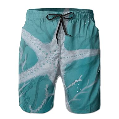 Ableelba Men Paint Sea Star Fashion Beach Pant Tide Stamp Shorts