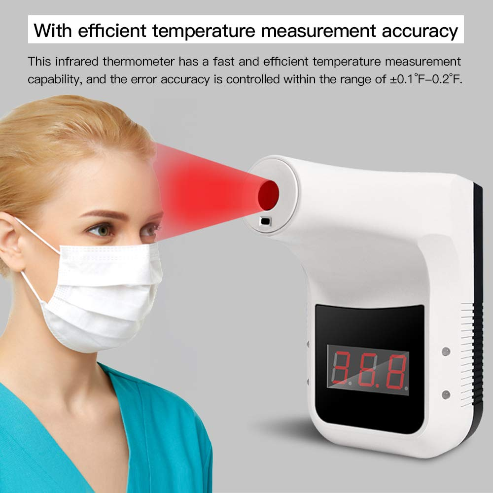 Suitable for Offices Shops Wall-Mounted Infrared Thermometer Factories Non-Contact LED Digital Infrared Forehead Thermometer with Fever Alarm and 0.1S Rapid Temperature Measurement Schools