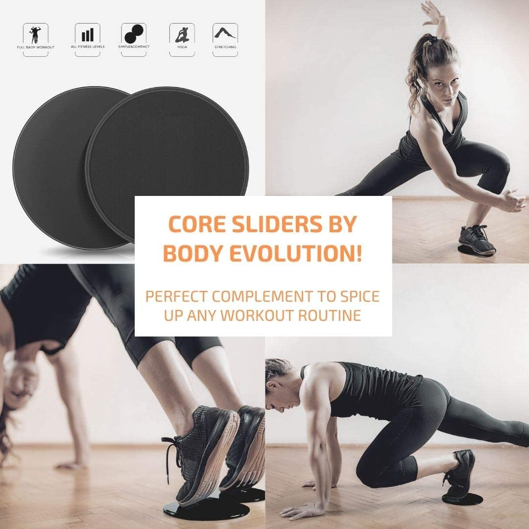 Body Evolution Home Gym Workout Exercise Gear│Premium Set of 15│Resistance Bands with Handles and Door Anchor 150│Manual│Adjustable Weighted Jump Rope for Fitness│Core Sliders Gliding Discs│Workouts