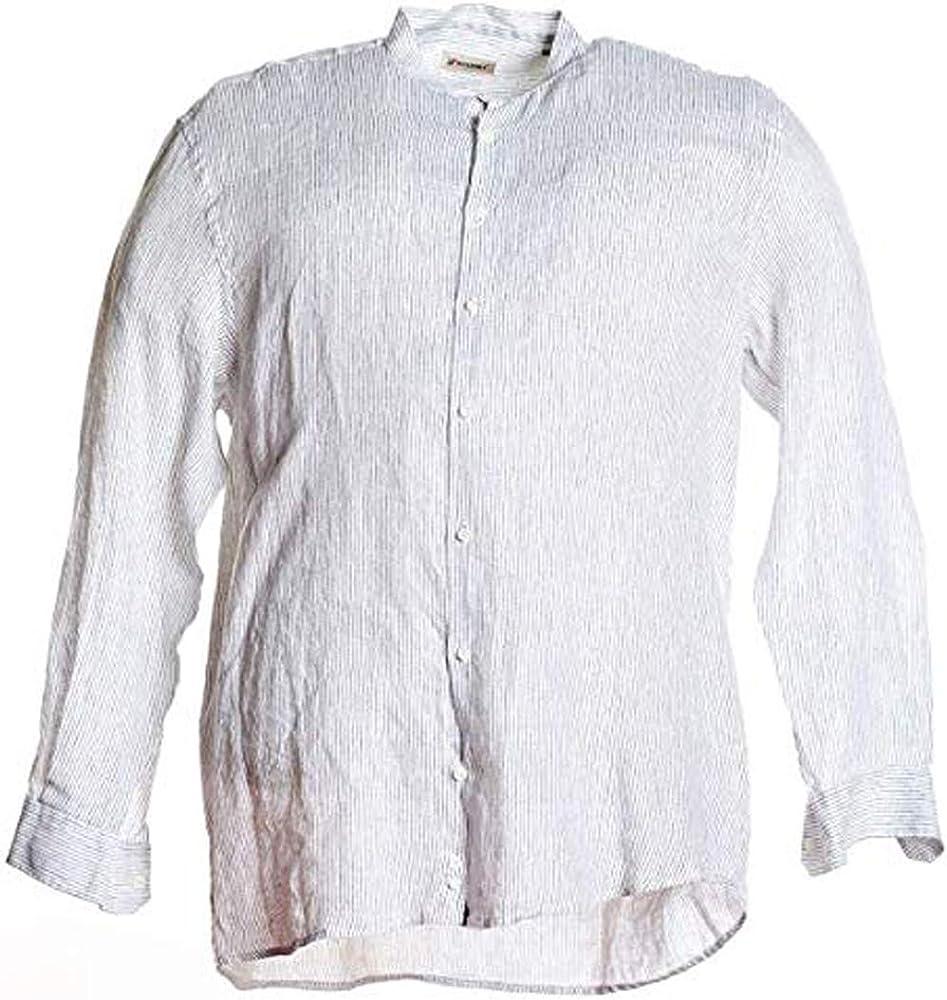 Maxfort Camisa Tallas Fuertes Hombre Manga Larga Lino Cuello Coreano Bianco Rigato XXL: Amazon.es: Ropa y accesorios