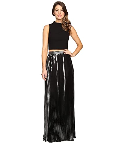 Aidan Mattox Womens Two-Piece Crepe Halter Top with Pleated Foil Shimmer Skirt