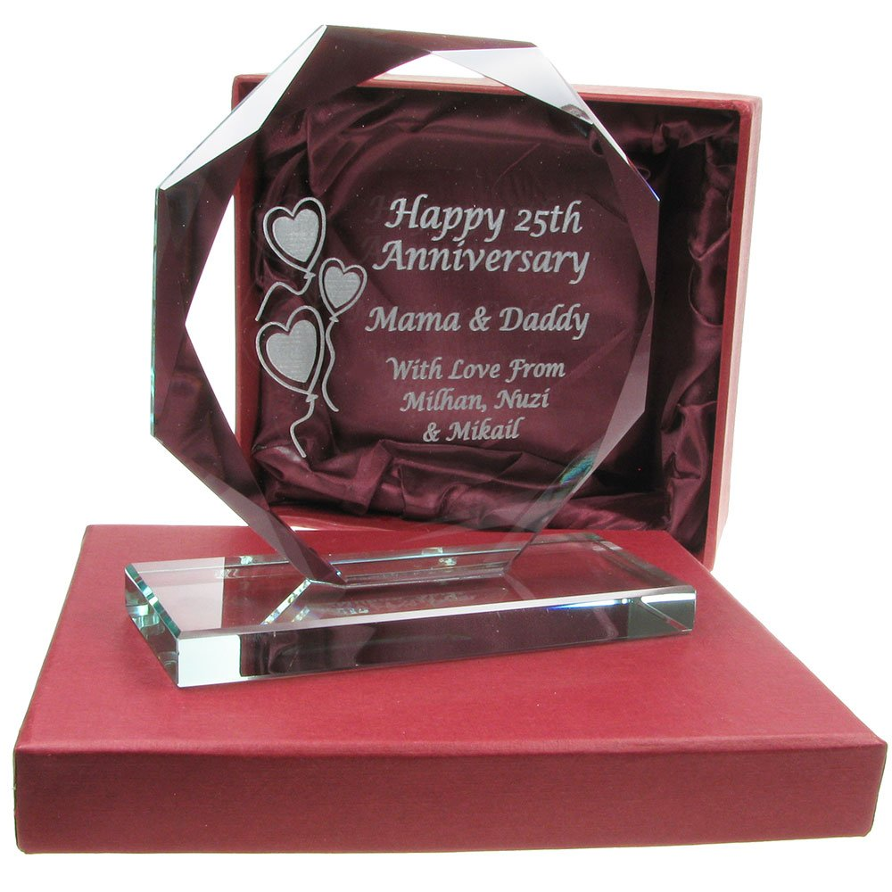 40th Wedding Anniversary Gift Engraved Presentation Cut Glass