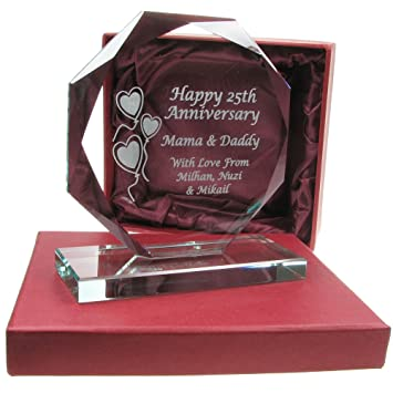 25th wedding anniversary gift engraved cut glass gift 25th wedding anniversary gifts - 25th Wedding Anniversary Gifts
