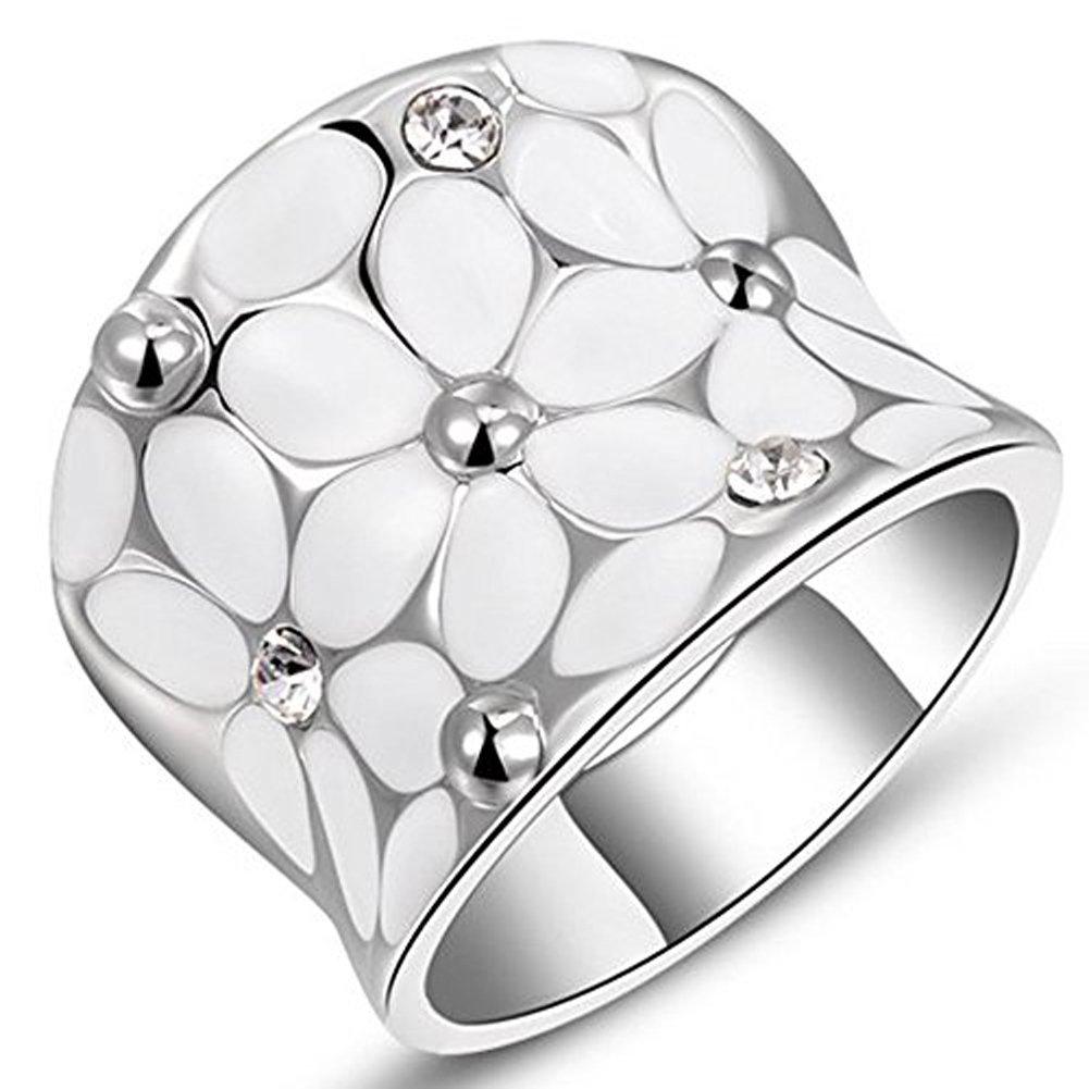 Womens Elegant Enamel Flower White/Rose Gold Band Bloom Petal Platinum Wedding Engagement Ring Crystal Inlay, Large YulanZhi