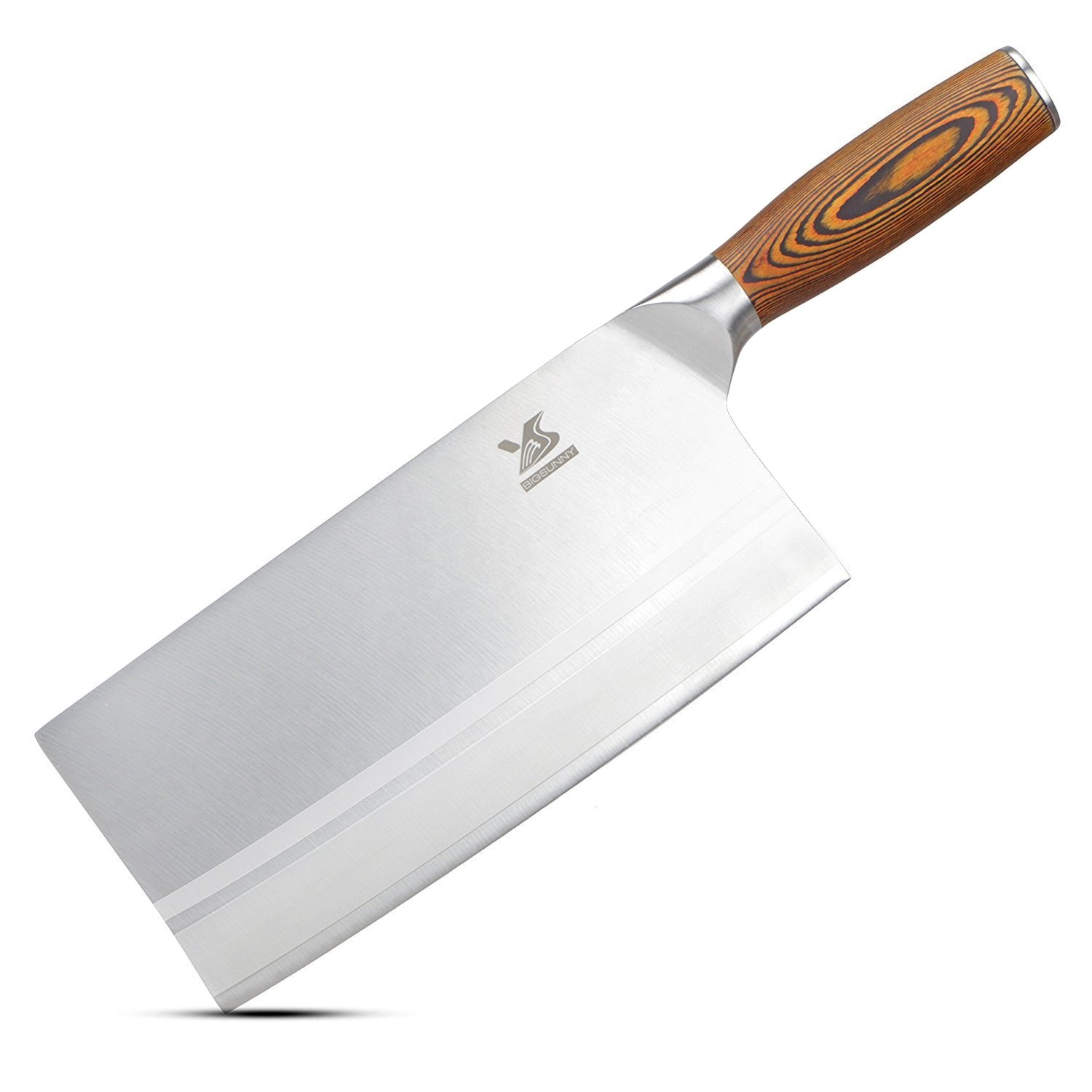 BIGSUNNY 8'' Chinese Kitchen Knife Meat Cleaver Vegetable Knife, Pakka Wood Handle